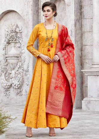 Chrome yellow anarkali resham embroidered suit with contrast red dupatta