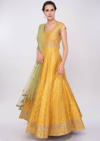 Chrome yellow gotta patch embroidered raw silk anarkali dress only on Kalki