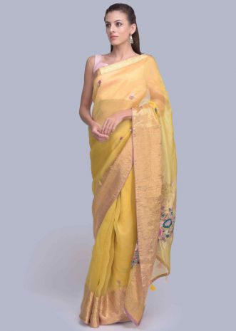 05bb1a318f4 Chrome yellow organza saree with floral butti only on Kalki ...