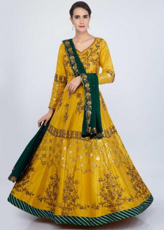 Chrome yellow raw silk anarkali suit in heavy embroidery and butti only on Kalki