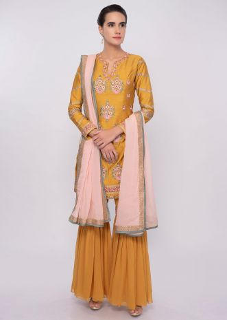 Chrome yellow sharara suit in multi color resham embroidery only on Kalki