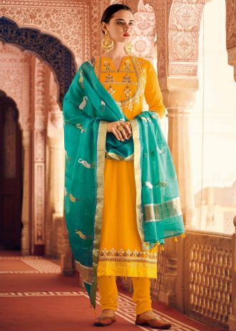 Chrome yellow straight suit in silk with pita zari embroidery