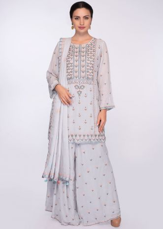 Cloud grey cotton suit set in resham and zari floral embroidery and butti