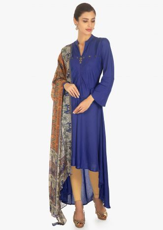 Cobalt blue front short and back long suit with printed dupatta