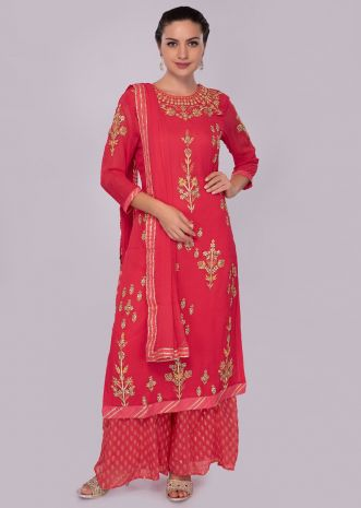 Coral georgette embroidered suit set with chiffon dupatta