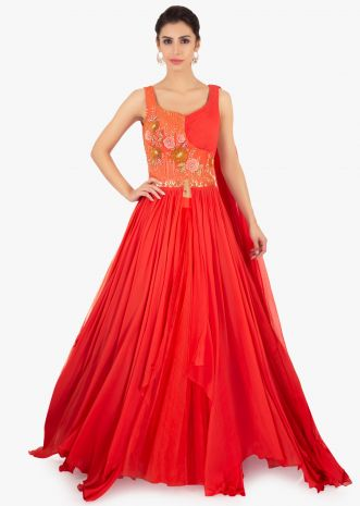 Coral peach net skirt paired with long peach georgette top