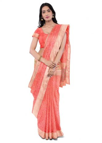 4ef7e3b8e9 Coral pink two toned banarasi silk saree with matching blouse piece only on  Kalki