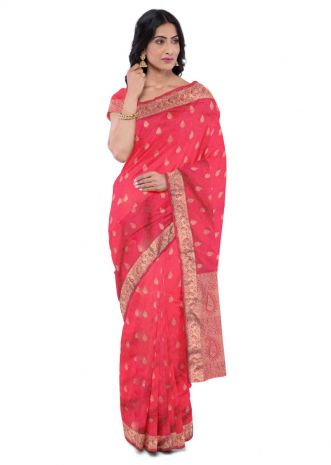 3aa75a9381 Coral pink two toned banarasi silk saree with matching blouse piece only on  Kalki