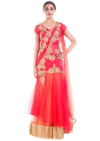 Coral Red Gown Saree
