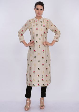 Cream beige kurti in multi color floral butti only on Kalki
