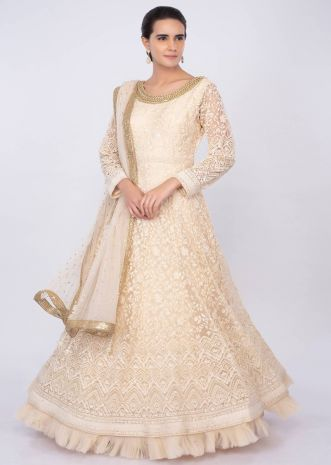 Cream net anarkali with thread jaal embroidery only on kalki