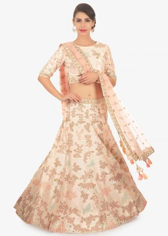 Cream raw silk embroidered lehenga set paired with pink net dupatta
