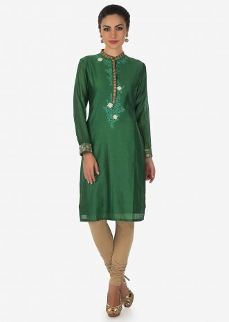 Dark green kurti in cotton with resham embroidered placket only on Kalki