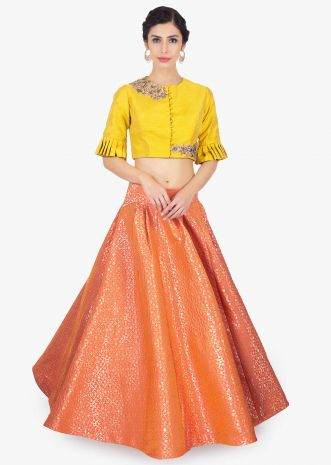Dark peach and gold brocade skirt matched with a raw silk tuscan yellow blouse