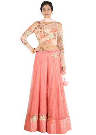 Dark Peach Lehenga With Embroidered cold shoulde blouse