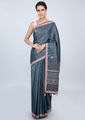 Dark steel blue tussar silk blouse with  patch embroidered butti and border only on kalki