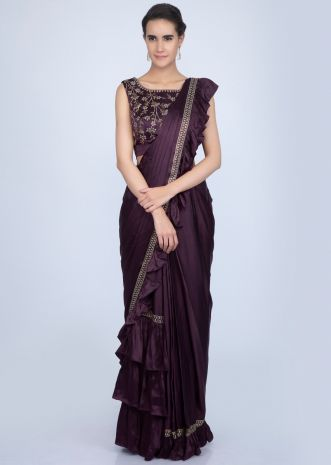 fb08747a442b1a Dark violet ready pleated satin saree with frilled pallo only on Kalki ...