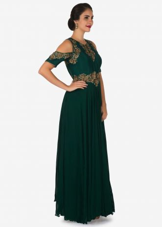 Dark green gown in georgette crafted in resham and zari embroidered work