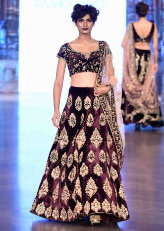 Dark plum lehenga in french knot and zardosi handwork only on Kalki