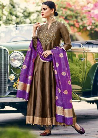 Deep brown anarkali suit in chanderi silk with embroidered placket