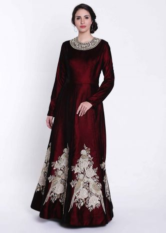 Deep maroon anarkali gown with bird motif embroidery only on Kalki