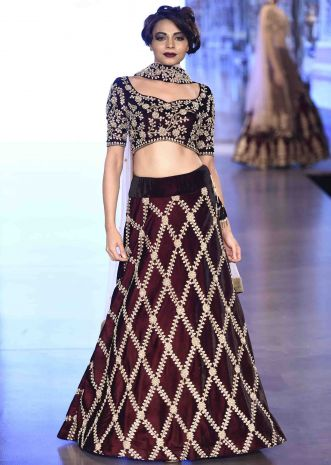 Deep burgundy lehenga in criss cross embroidered patter only on Kalki