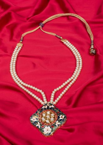 Double layer Champaign cream pearl necklace with meenakari pendant only on Kalki