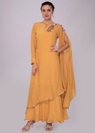 Double layer mustard tunic dress with fancy flared sleeves