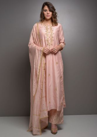 Dusty pink embroidered suit with matching palazzo and dupatta