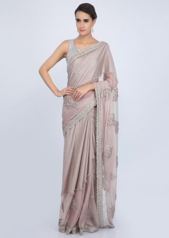 Dusty rose Half and half saree in shimmer lycra and hard net only on Kalki