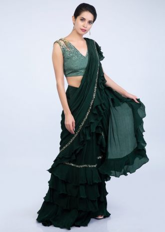 2403b1c5dd42f1 Emerald green ready pleated saree with frilled layers at the hem and pallo  only on Kalki ...