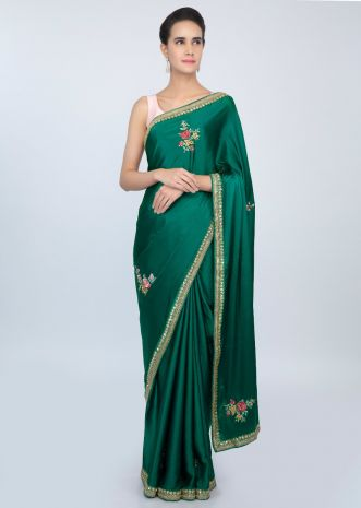 Emerald green satin saree with multi color resham floral  butti only on kalki