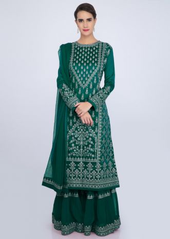 Emerald green sharara suit set with embroidery and butti only on Kalki