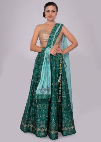 Emerald green silk lehenga with patola print and embroidery