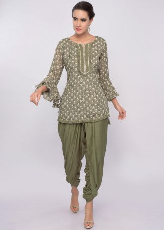 Fern green dhoti and top in block print only on Kalki
