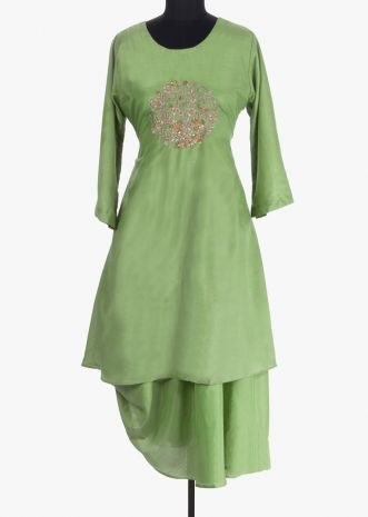 Fern green double layer tunic dress featuring in silk