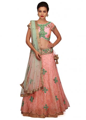 Flamingo pink lehenga adorn in sequin and 3D floral embroidery only on Kalki