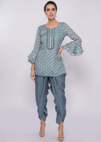 Flint grey dhoti and top in block print only on Kalki