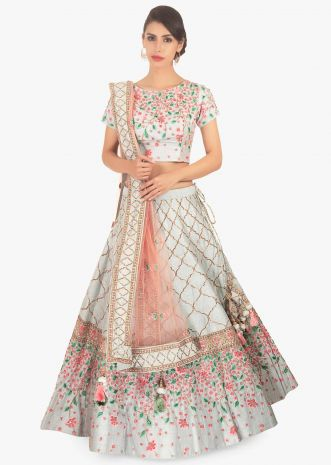Floral resham embroidered blue lehenga set paired with pink net dupatta