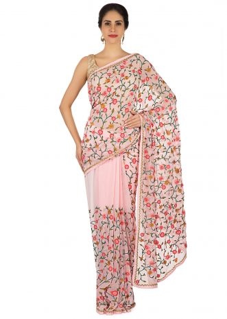 Floss pink saree in resham jaal and cut dana border only on Kalki