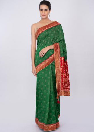 Forest green silk saree with red bandhani printed pallo only on kalki