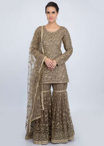 Fossil green net jaal embroidered sharara suit set only on Kalki