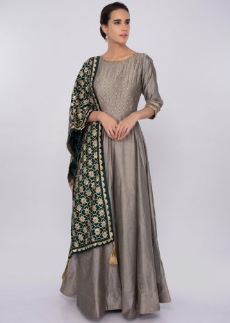 Fossil grey cotton silk  anarkali dress with embroidered bodice only on kalki