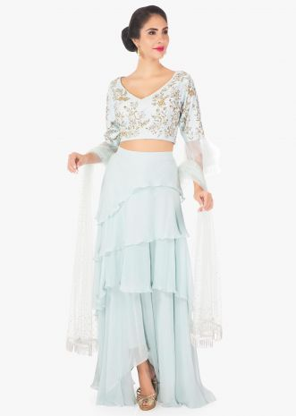 Frost blue layered skirt cut  dana blouse and net blouse