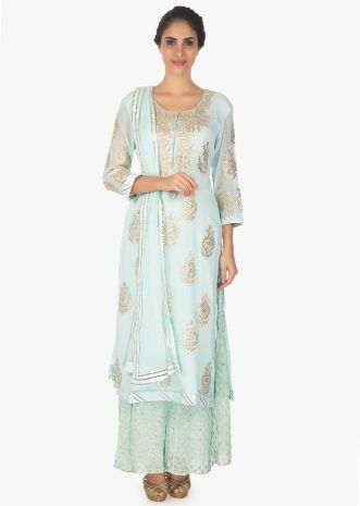 Frost blue  weaved suit and palazzo pant