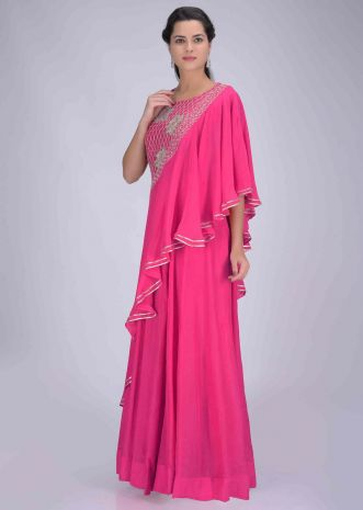 e6e5b4d5bf34c0 Fuchsia cotton silk gown with attached crepe dupatta only on Kalki ...