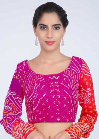 f54a0690cc6d5 Fuchsia pink and red shaded bandhani blouse with quilting work only on  kalki ...