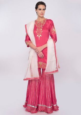 Fuchsia pink cotton silk sharara suit set only on Kalki