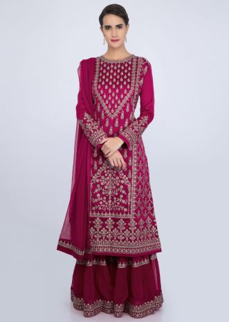 Fuchsia pink sharara suit set with embroidery and butti only on Kalki