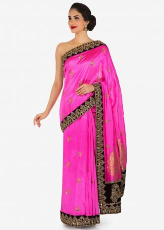 Fuchsia pink saree in silk with chariot motif embroidered border only on Kalki